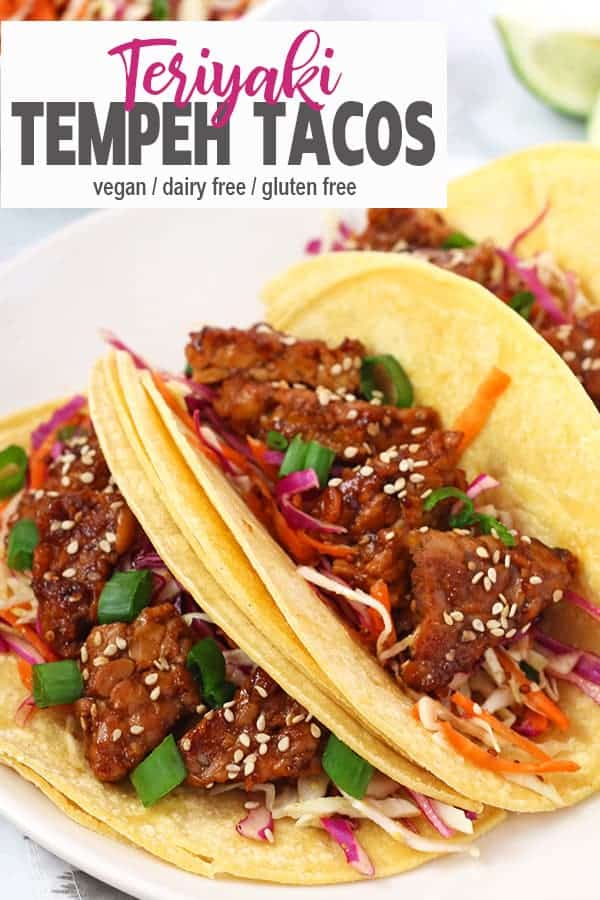 Teriyaki Tempeh Tacos | Looking for a different take on tacos? These Teriyaki Tempeh Tacos are a loaded with protein and combine both sweet and savory to make a delicious and easy meal. #vegantacos #glutenfreevegantacos #tempehtacos #vnutrition #vegantempehtacos