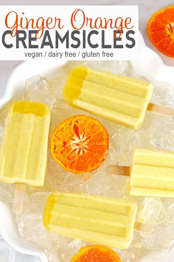 Ginger Orange Creamsicle Pop | These Ginger Orange Creamsicle Pops are the perfect easy and healthy summer treat! Similar to store-bought creamsicles, these dairy-free pops are full of creamy orange goodness with an elevated taste from the ginger. They're a tasty summer dessert without the guilt! #ad #veganicecream #veaganicecreampop #vegancreamsicle