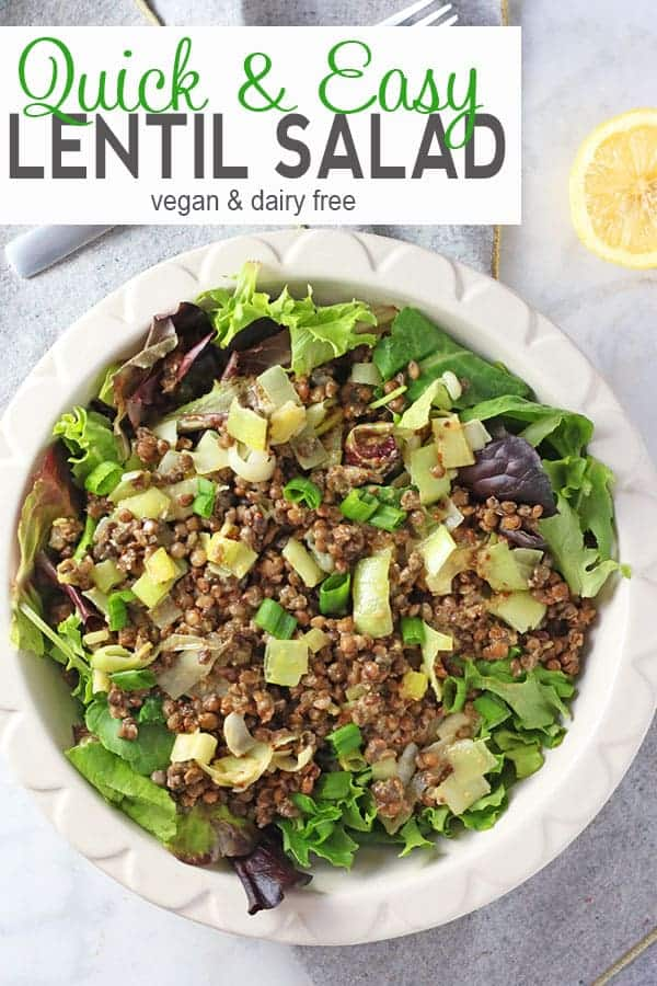 Easy Vegan Lentil Salad with Leeks and Lemon Vinaigrette | Need a tasty, quick and easy meal? This cold lentil salad is gluten free and can be ready in under 10 minutes! It's the perfect healthy dinner or lunch! #lentilsalad #veganlentilsalad #easylentilsalad #vnutrition #lentilsaladrecipes #healthylentilsalad #healthyveganlentilsalad