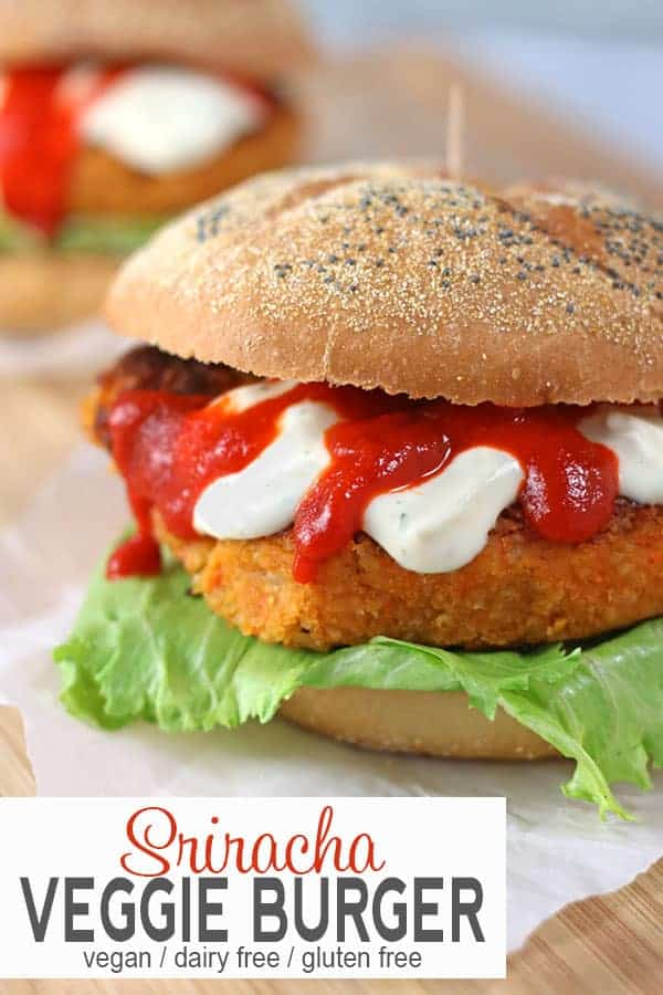 Sriracha Veggie Burgers | TheseSriracha Veggie Burgers are not your typical vegetable burger. They're healthy, vegan, and gluten-free. These sriracha burgers kick the heat up a notch with the awesomeness of sriracha. #srirachaveggieburger #srirachaburgerveganrecipes #srirachaburgerrecipe #srirachavegetableburger #vegansrirachaburger #vnutrition #veggieburgersriracha