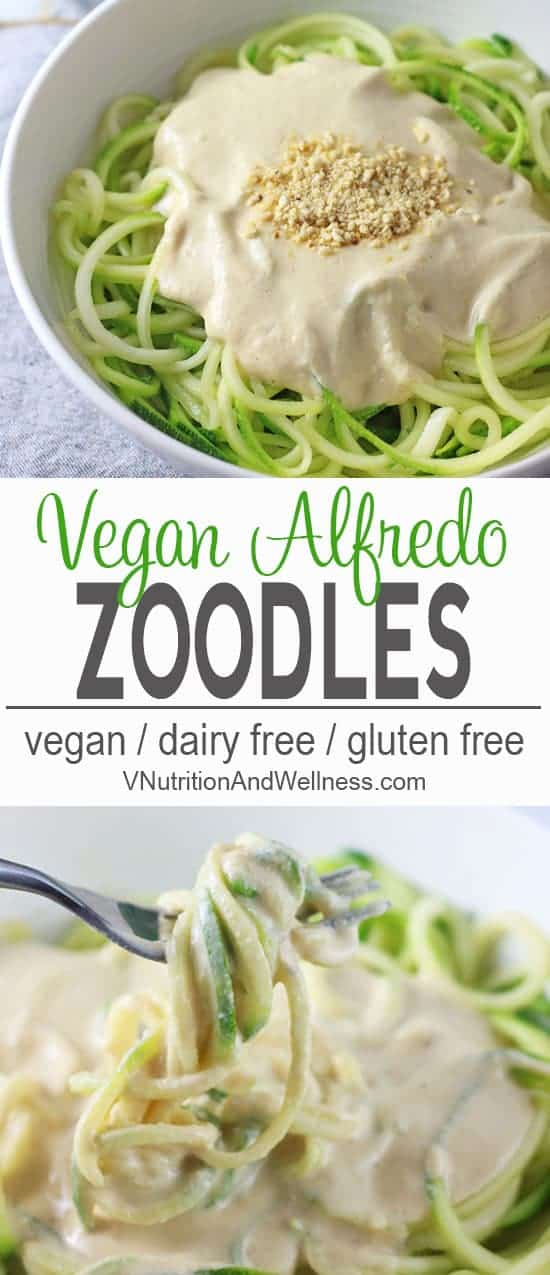 Vegan Zucchini Pasta Alfredo | ThisVegan Zucchini Pasta Alfredo is perfect for summer. The zucchini noodles are lighter than pasta but still tasty when you're craving something creamy but don't want the too many carbs. vegan recipe, zucchini noodle recipe, vegetarian, gluten-free, dairy-free