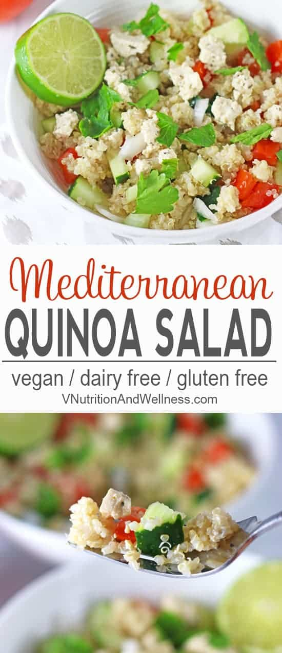 Mediterranean Quinoa Salad | Take a trip to a Mediterranean beachside cafe with this Mediterranean Quinoa Salad. Quinoa and veggies are topped with tasty vegan feta for a bold and delicious salad. vegan salad recipe, vegetarian, salads, tofu salad