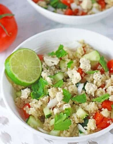 Mediterranean Quinoa Salad with Vegan Feta