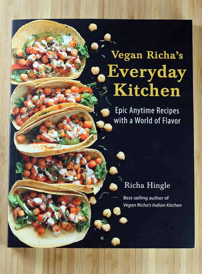 vegan cookbook with buffalo chickpea tacos on cover