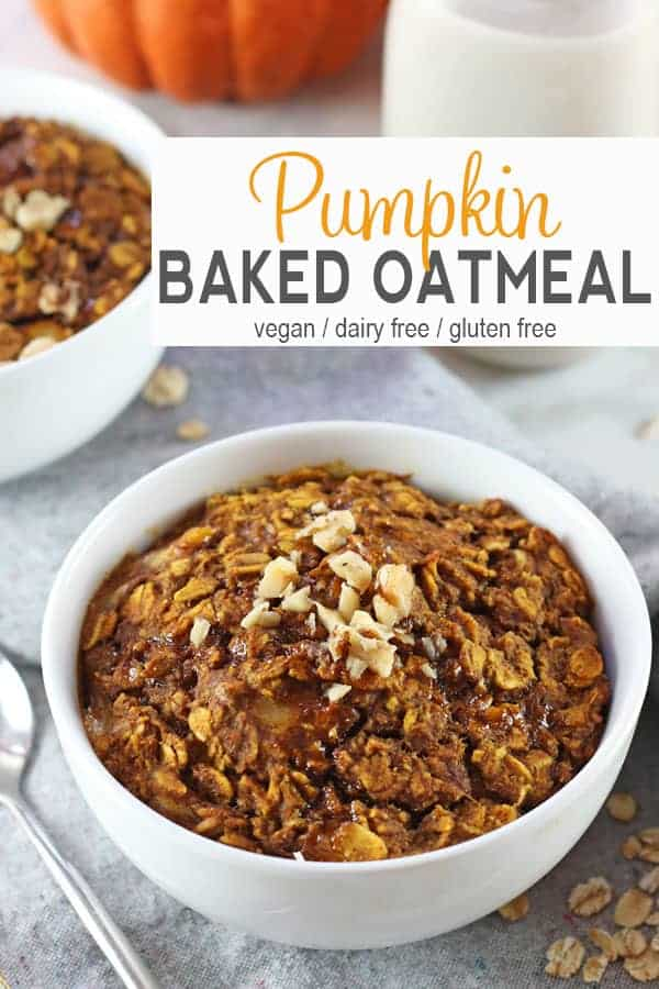 Vegan Baked Pumpkin Oatmeal | This vegan baked pumpkin oatmeal is a tasty and healthy breakfast option. Full of pumpkin goodness, it's a perfect for fall! vegan, breakfast, recipe, pumpkin, baked oatmeal, vegetarian, gluten-free #veaganoatmeal #vegan #pumpkinoatmeal #veagnpumpkinoatmeal #bakedoatmeal #veganbakedoatmeal #veganglutenfreeoatmeal