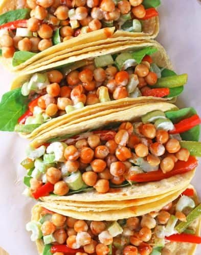 Buffalo Chickpea Tacos {GF option}