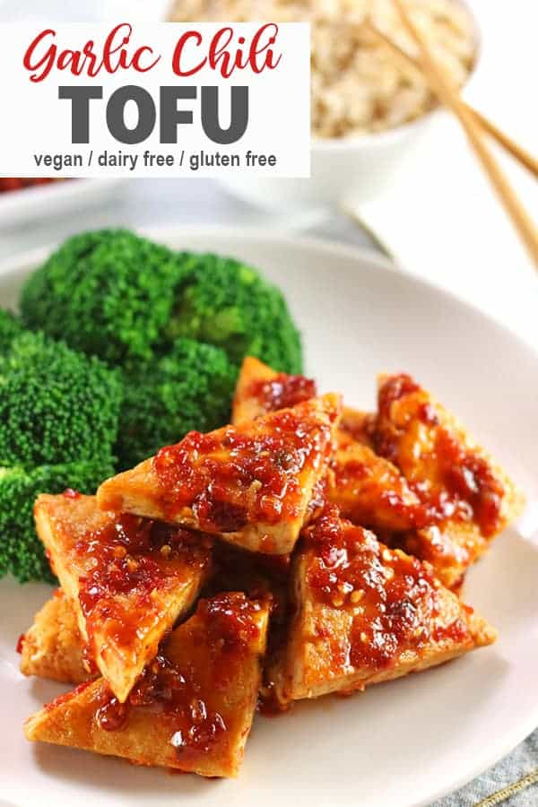 Tofu in Chili Garlic Sauce | Crank up the heat in your dinner with this Tofu in Chili Garlic Sauce! It's perfect for spice-lovers and so easy that it's on the table in about 15 minutes!  #tofu #vegantofurecipe #spicytofu #vnutrition #garlictofu #chilitofu