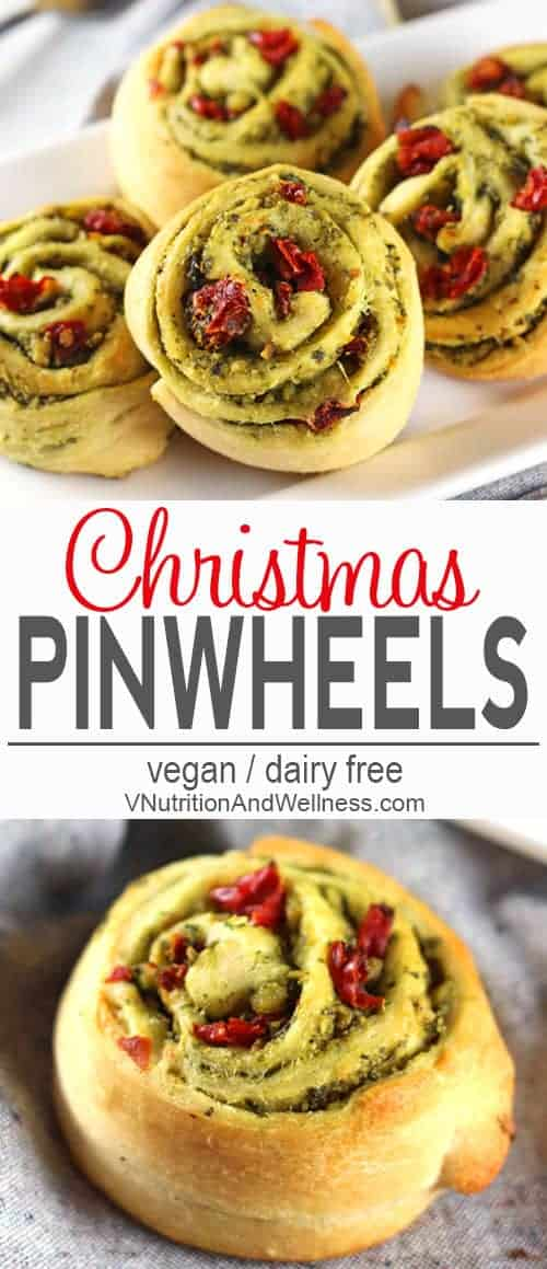 Christmas Pinwheels | Christmas Pinwheels feature green pesto and red sun-dried tomatoes to make them an extra festive addition to any holiday meal or party! vegan, dairy-free, vegetarian, vegan holiday appetizer, #veganchristmas #veganholidayappetizer #veganholidays