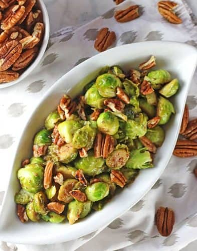 Dijon Mustard Brussels Sprouts with Toasted Pecans {GF}