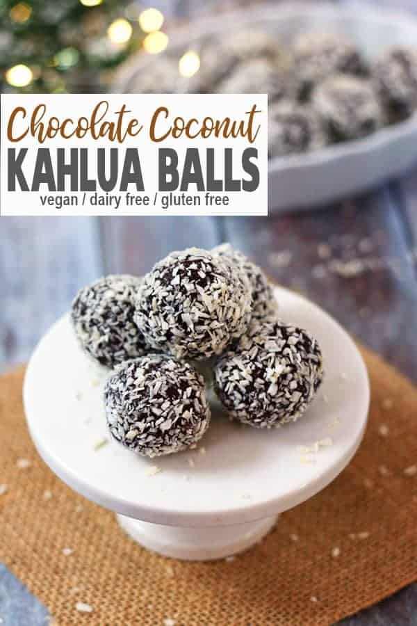 Chocolate Coconut Kahlua Balls | These Coconut Kahlua Balls are a perfect sweet treat for the holidays. They're like holiday rum balls, only with Kahlua! Chocolate, coconut, and the coffee flavor of Kahlua are a delicious combination. They're vegan, dairy-free, gluten-free, and so easy to make because they're no bake! #veganChristmasdessert #veganholidaydessert #vegankahluaballs #vegankahluatruffles #vnutrition #vegankahluaballrecipe