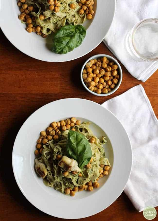 Vegan Pasta Recipes for Date Night - Artichoke Pesto Pasta