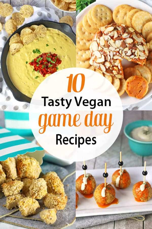 Vegan Game Day Snacks | Gameday is not only for sports, it's for eating! These delicious vegan game day recipes are perfect appetizers and snacks for vegans looking to enjoy tasty food for football season, basketball, soccer or the Superbowl! They rival any omnivore fare! #vegansuperbowlrecipes #vegangamedayrecipes #vegangamedaysnacks #vegangamedayfood #vnutrition #veganfootballpartyfood #veganfootballfood