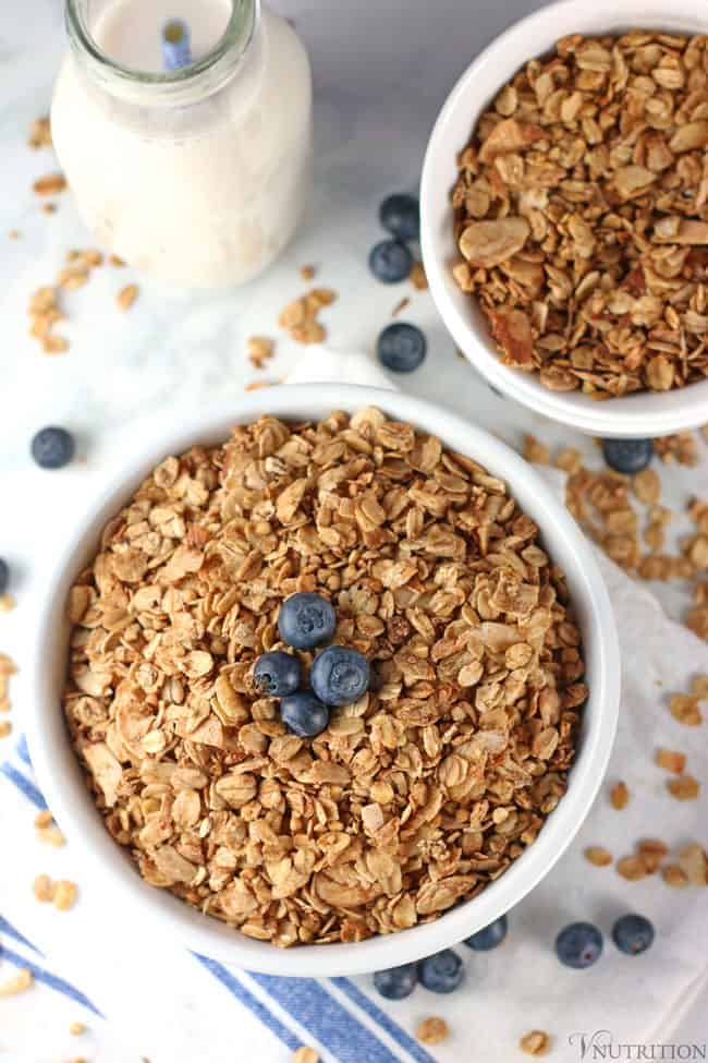 overhead view of healthy granola