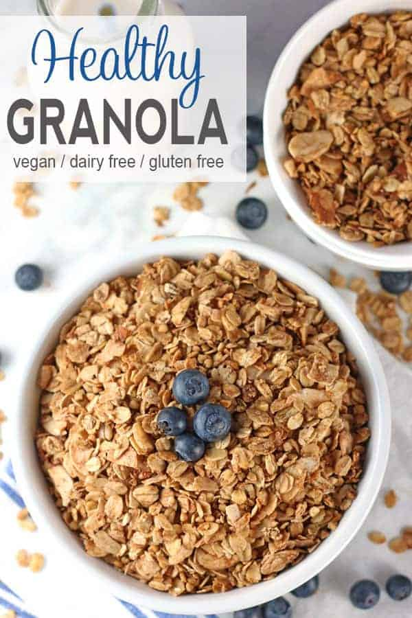 Healthy Granola | Are you looking for a healthy granola that is not filled with sugar? This Healthy Granola is a perfect addition to any breakfast or great as a snack on its own. It's gluten-free and refined sugar-free but still totally delicious! Throw it on yogurt or a smoothie bowl for some crunch or use it on its own as a cereal. gluten-free, dairy-free, vegan recipe, vegetarian, granola recipe, healthy granola recipe #healthygranola #vegangranola #granola