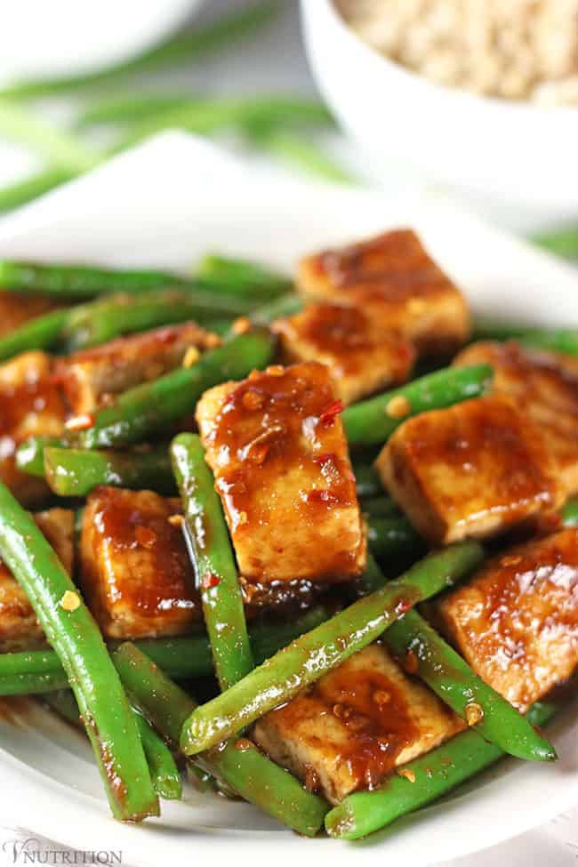 close up Tofu Green Bean Stir Fry