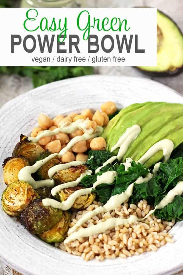 This Green Power Bowl is full of vegan goodness! It's a delicious plant based budda bowl of whole grains, vegetables, & avocado with a cilantro lime sauce. What a healthy and easy way to have a quick lunch or dinner on the table fast! #powerbowlrecipe #veganbuddhabowl #buddhbowl #veganpowerbowl #vegetarianpowerbowl #easypowerbowl #vnutrition