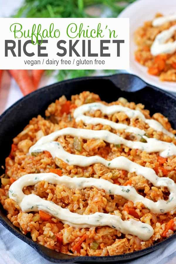 Vegan Buffalo Chicken Rice Skillet | This gluten free recipe comes together fast with vegan chicken, brown rice & veggies. Vegan buffalo dish makes a delicious and easy vegan meal that's perfect for football season or the Super Bowl. #veganbuffalochicken #veganbuffalorice #buffalochicken #veganbuffalochickenrecipe #veganbuffalochickenrecipes #vnutrition