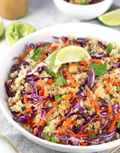 Easy Chickpea Thai Quinoa Salad with Peanut Dressing