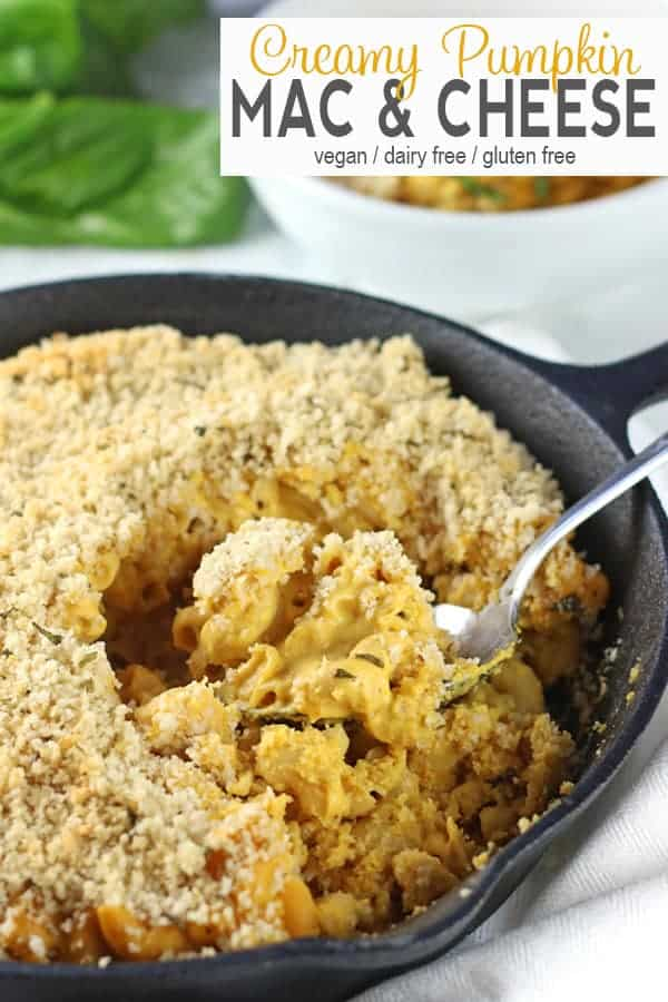 Vegan Pumpkin Mac and Cheese | This gluten free vegan pumpkin mac and cheese is baked until it's creamy and delicious. It's the perfect dairy-free comfort food and a wonderful family dinner. This mac and cheese is made creamy with cashews and cheesy with nutritional yeast. It's a delicious healthy dish for the holidays.