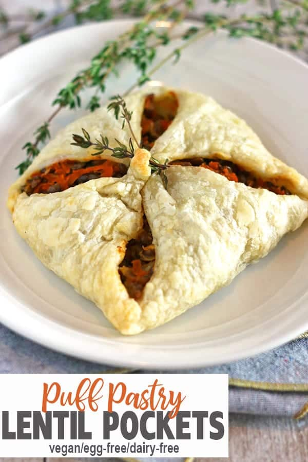 Lentil Puff Pastry Pockets | These Lentil Puff Pastry Pockets are perfect vegan holiday main dish or a meatless centerpiece to any meal! Lentils and veggies make for a hearty vegan meal. Empress you guests with this fancy looking yet easy to make vegan dinner! #veganholidayrecipe #vnutrition #veganholidaymaindish #veganlentilrecipe #lentilpuffpastry #veganpuffpastryrecipe #veganpuffpastry