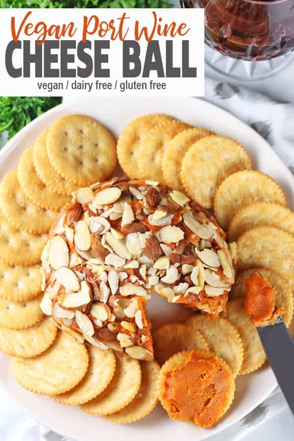 Vegan Port Wine Cheese Ball | This Vegan Port Wine Cheese Ball will be a hit at any party or holiday. Creamy cashews, sun-dried tomatoes, nutritional yeast, and port wine make for a delicious combination that no one will realize it's dairy-free! Impress your guests with this fun and easy to make ball of tastiness! #veganportwinecheese #vegancheese #vegancheeseball #portwinecheese #vnutrition