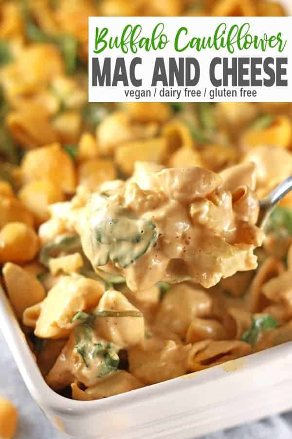 Buffalo Cauliflower Mac and Cheese | This Buffalo Cauliflower Mac and Cheese is the ultimate vegan comfort food. It's a perfect recipe when you're wanting to add a little spice to your dinner. This pasta dish is made healthy by adding lots of cauliflower and spinach - plus it's dairy-free, gluten-free and totally delicious!#veganbuffalocauliflowermacandcheese #buffalocauliflowermacandcheese #cauliflowermacandcheese #vegancauliflowermacandcheese #healthycauliflowermacandcheese #easycauliflowermacandcheese #vnutrition