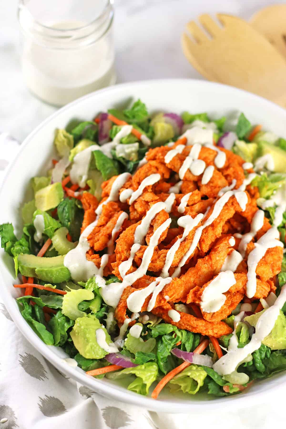 Buffalo Soy Curls Salad with Ranch Dressing