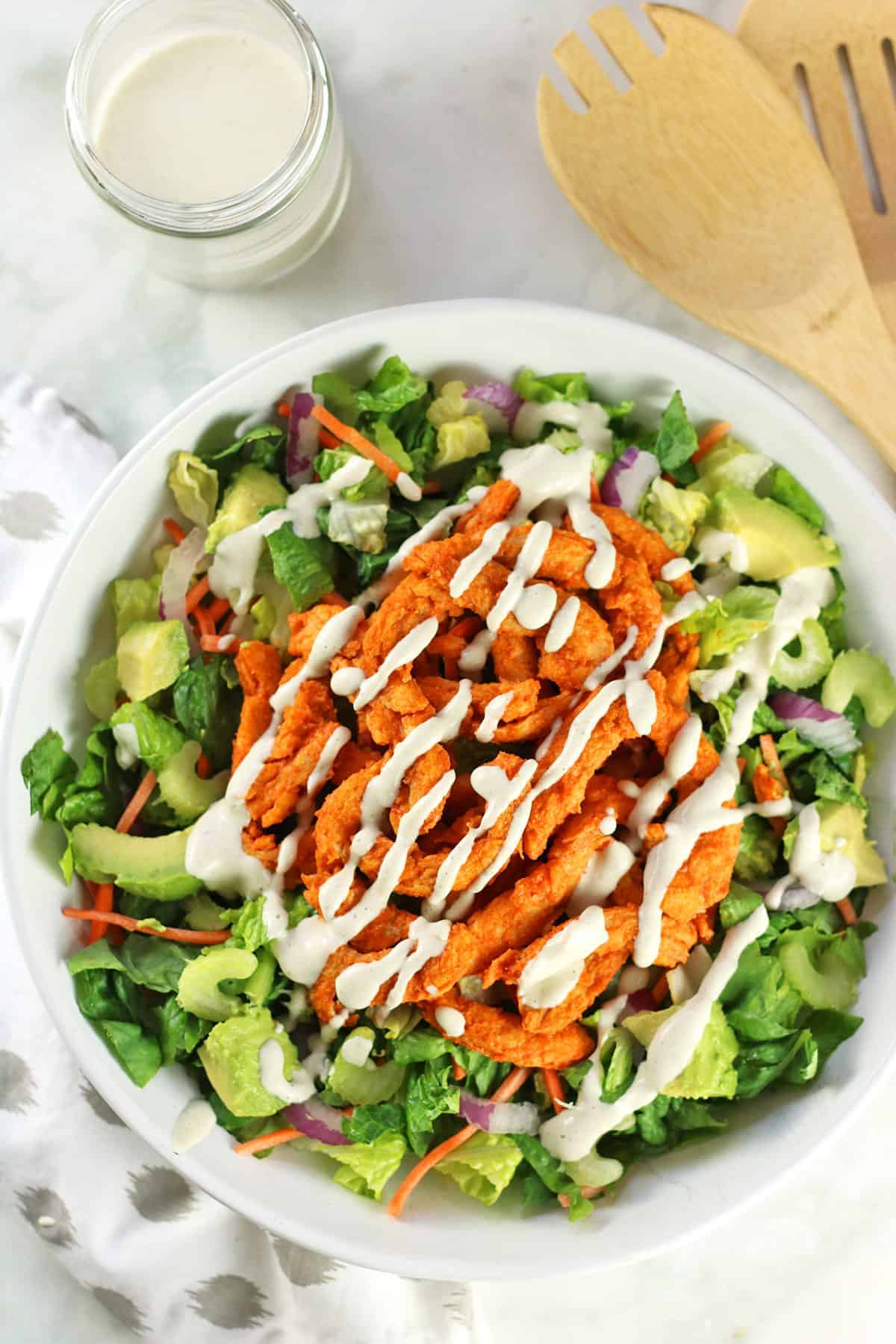 Soy Curls on top of Salad with Ranch Dressing