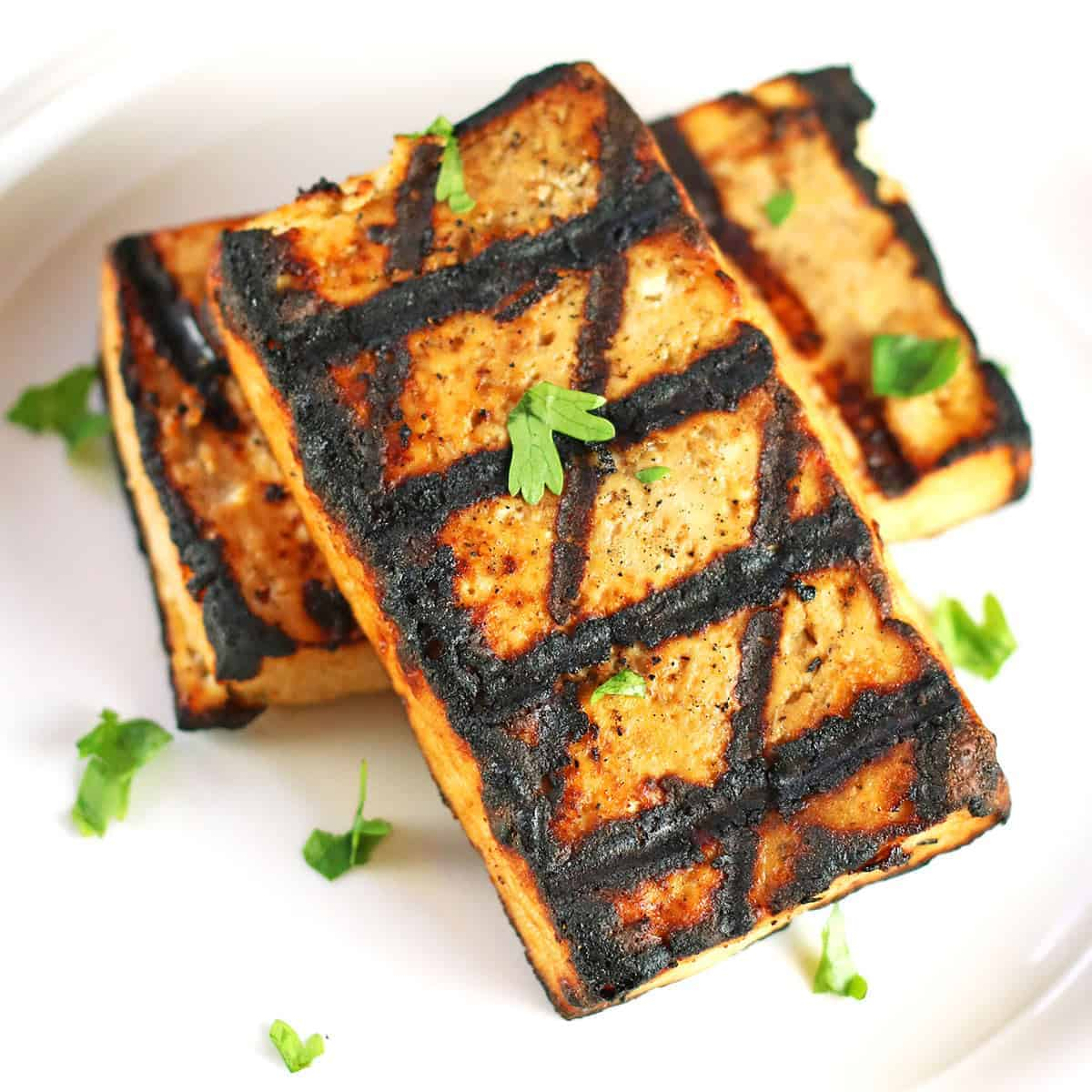 Grilled Tofu Steaks Marinated And Grilled Tofu Cutlets