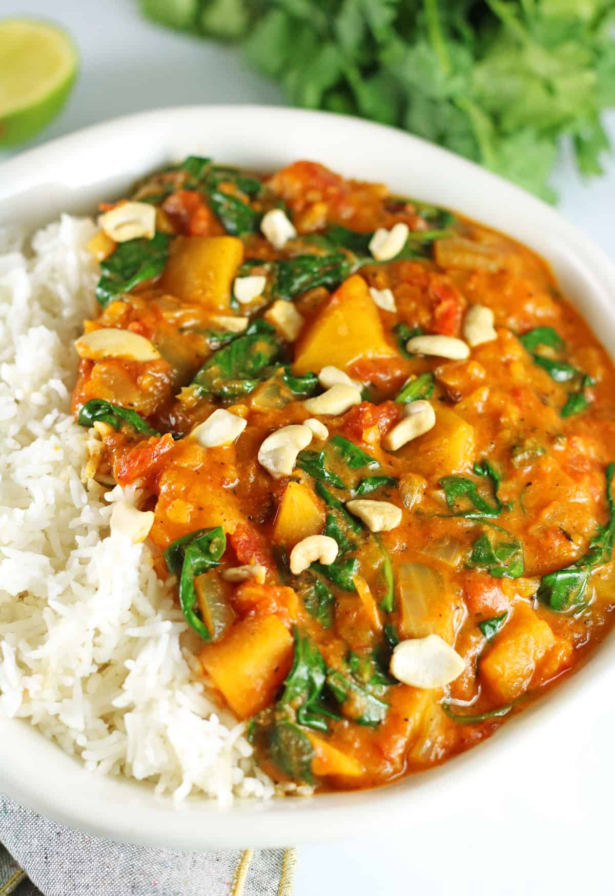 vegan butternut squash curry with cashews on top