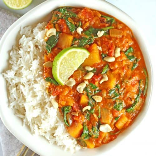 Vegan Butternut Squash Curry with Spinach