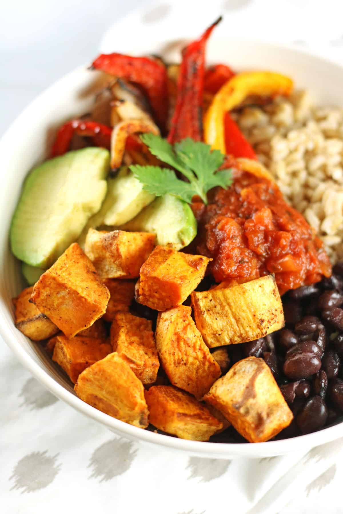 sweet potato buddha bowl closeup image