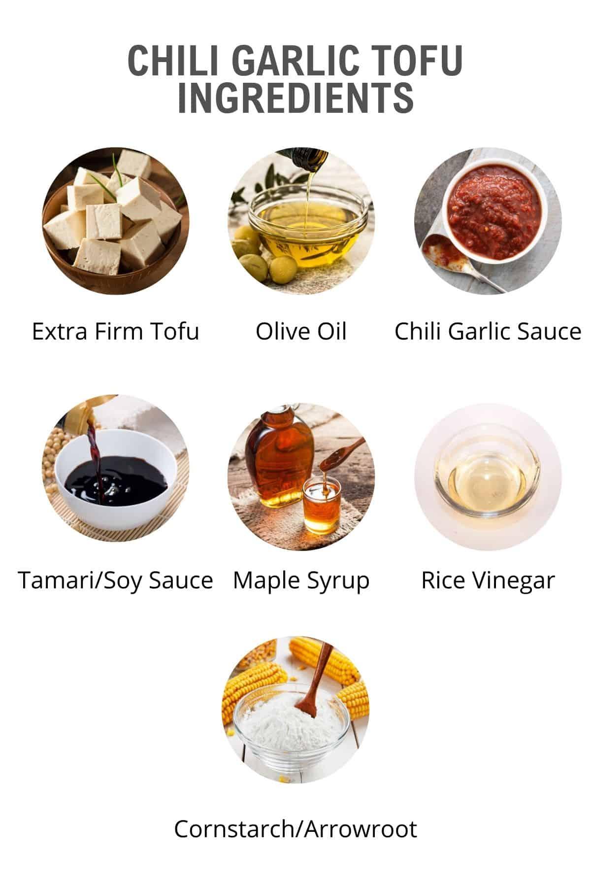 tofu in chili garlic sauce ingredients list, mise en place