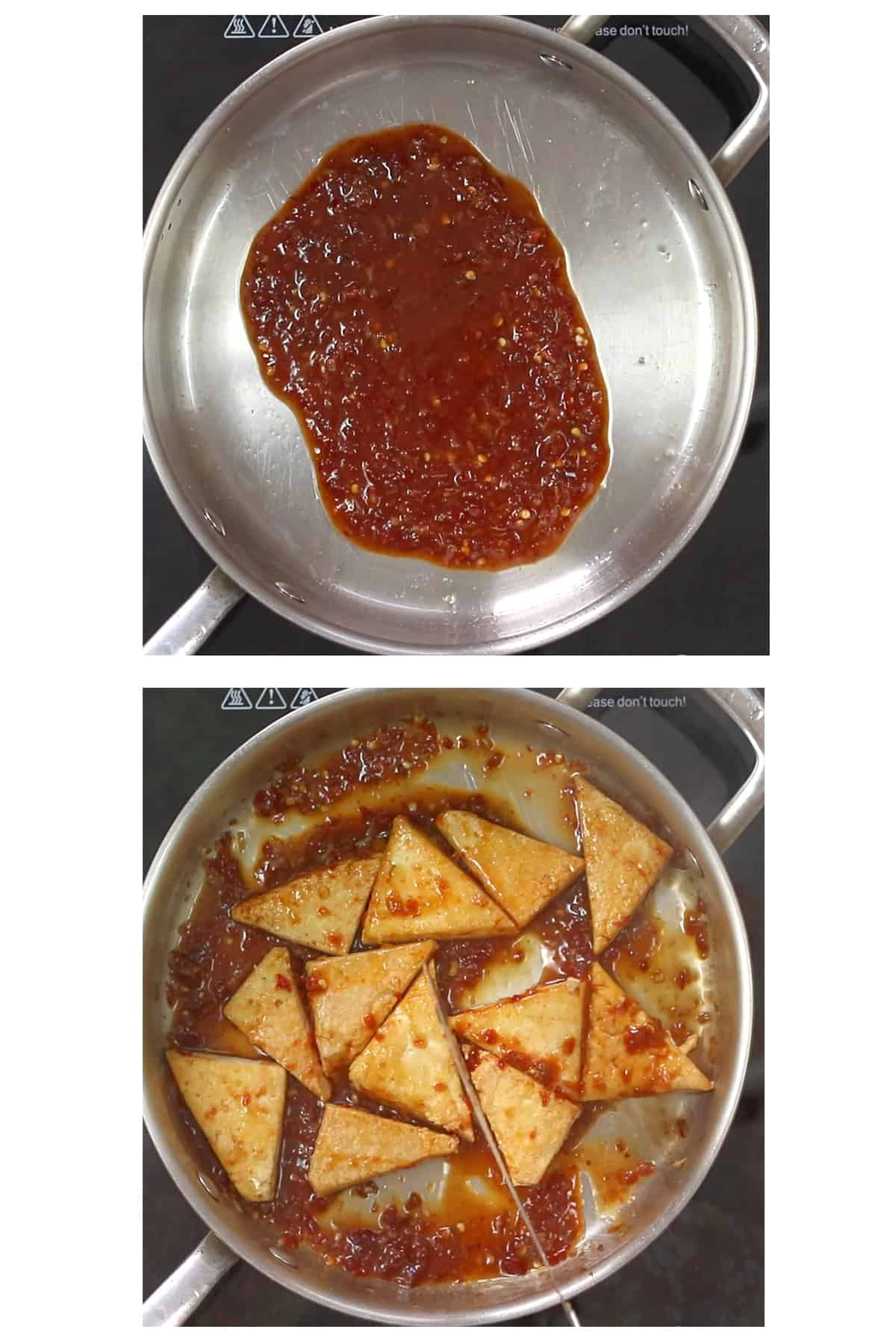 two images: top shows chili garlic sauce ingredients cooking in skillet, the bottom shows pan fried tofu wedges added to chili garlic sauce in skillet