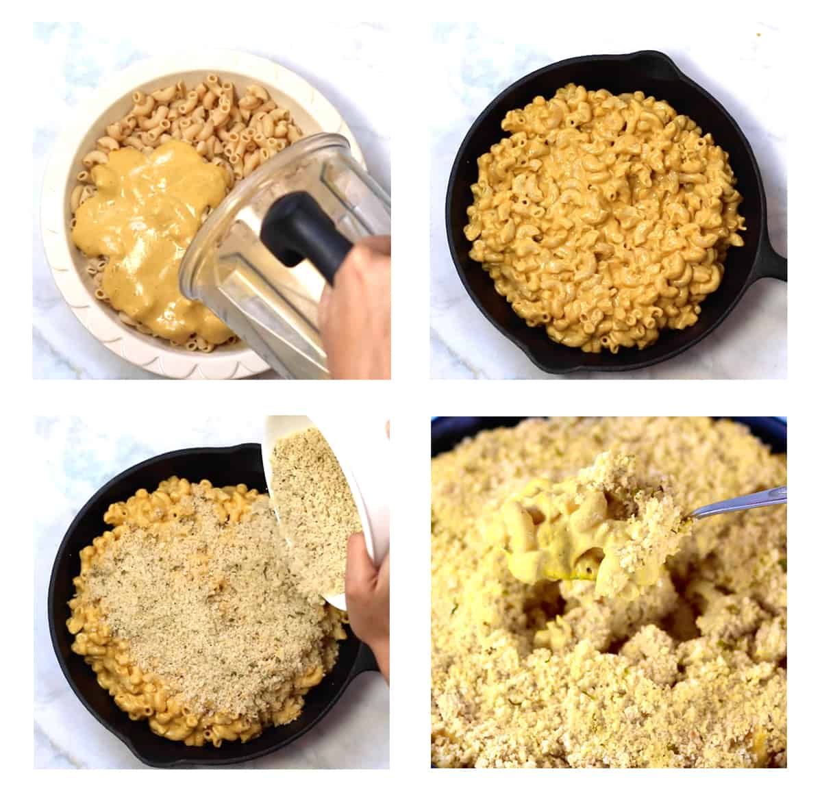 stop by step shots of how to bake the mac and cheese