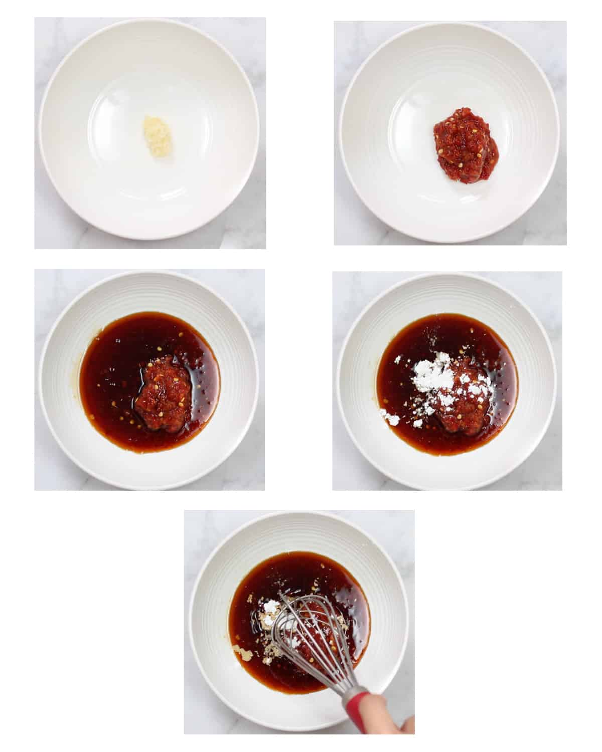 step by step photos showing all chili garlic sauce ingredients being added together and whisked