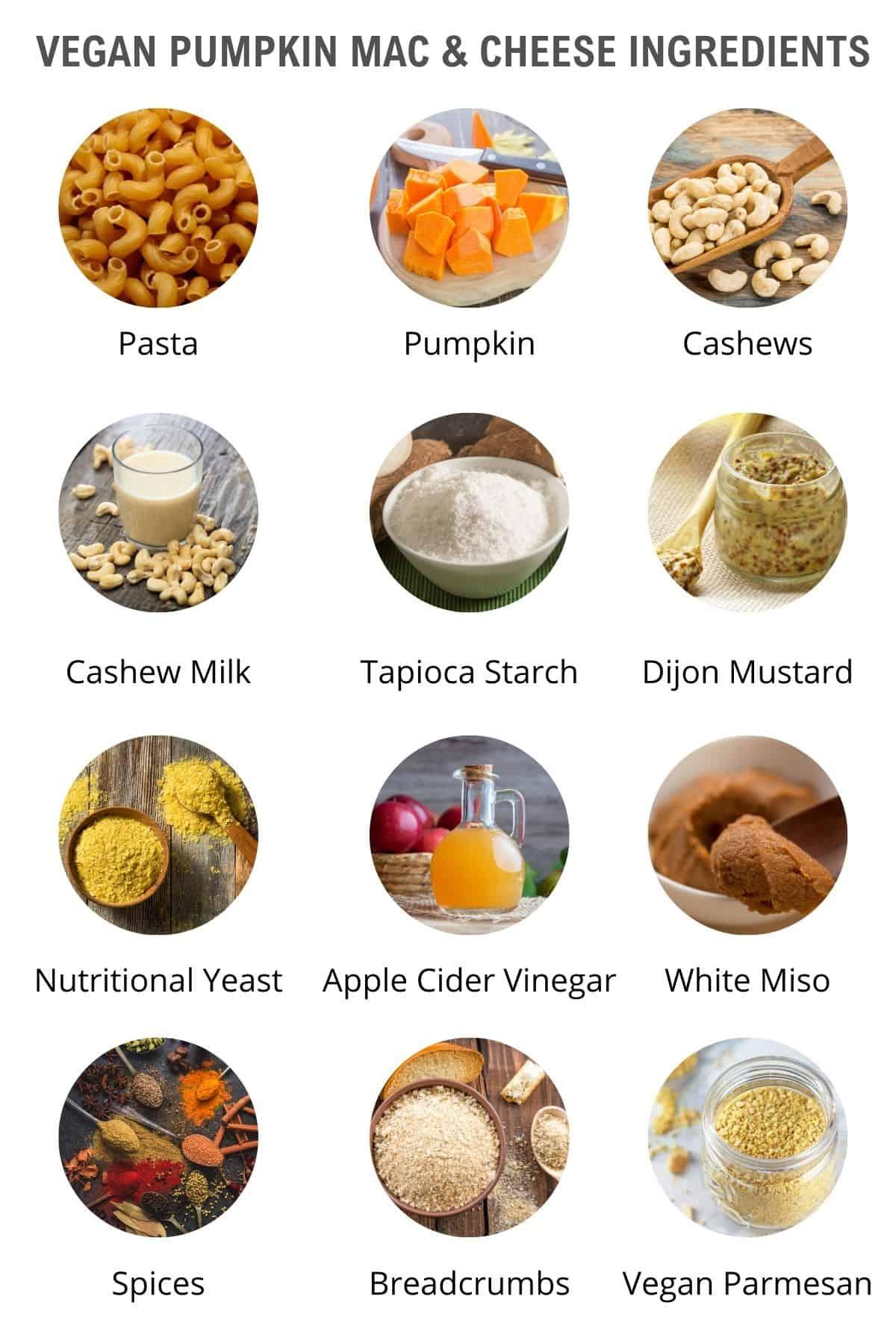 list of vegan pumpkin mac and cheese ingredients