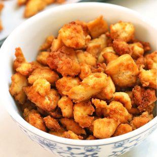 tofu crumbles in a bowl