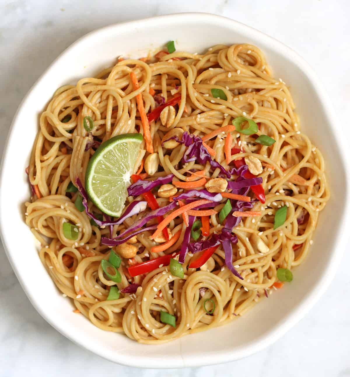 vegan peanut noodles with toppings