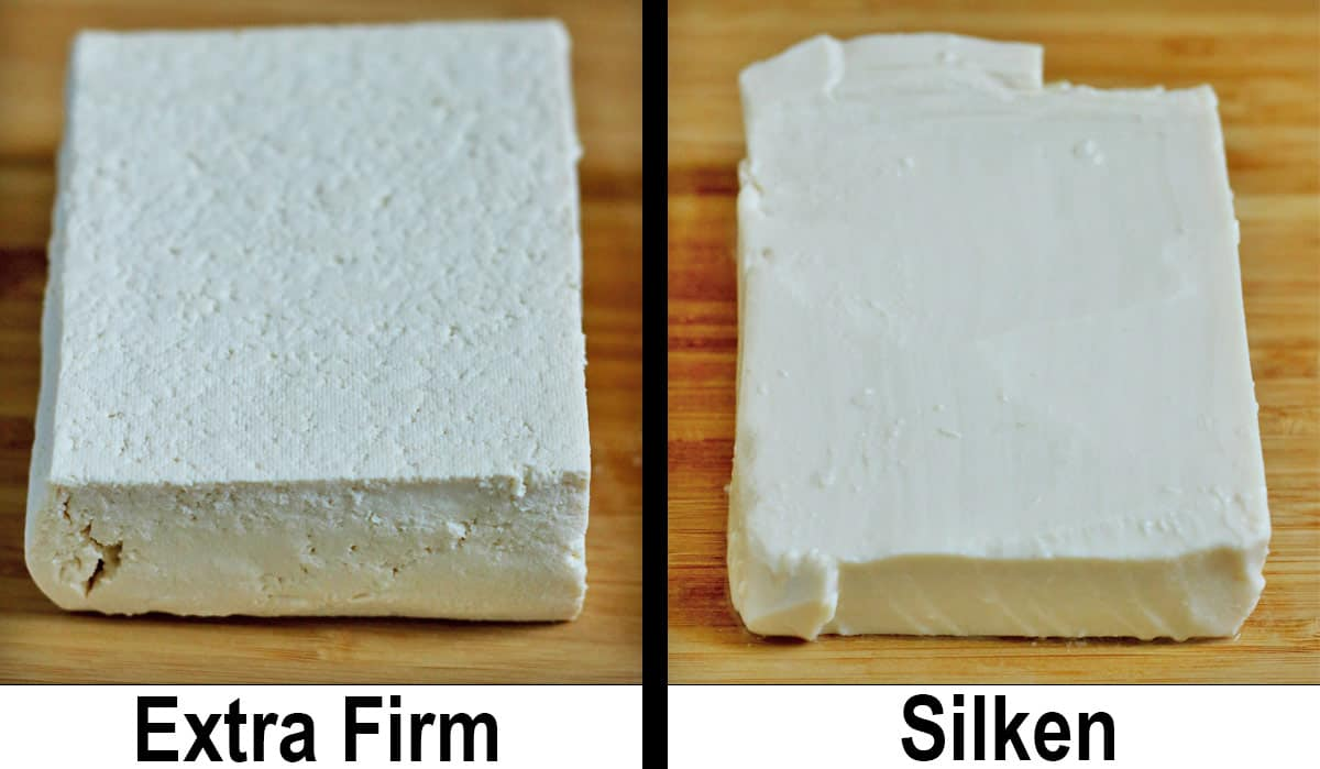 extra firm and silken tofu next to each other on wooden cutting board