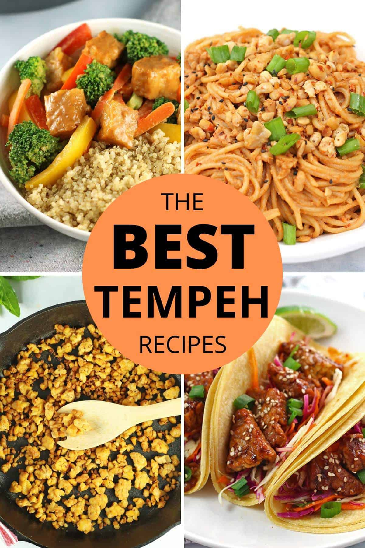 compilation of 4 tempeh recipe photos with the wording the best tempeh recipes