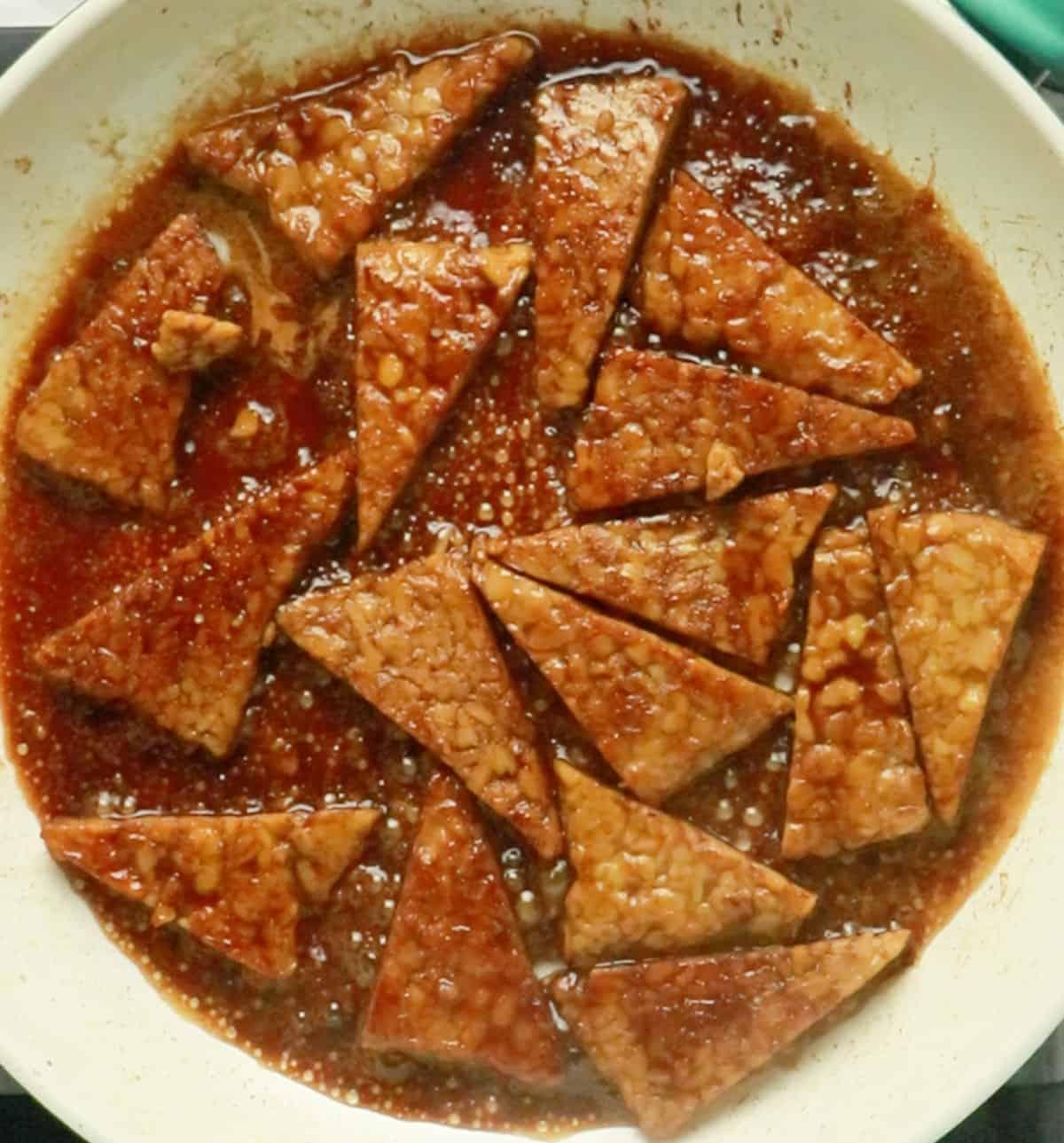 tempeh teriyaki cooking