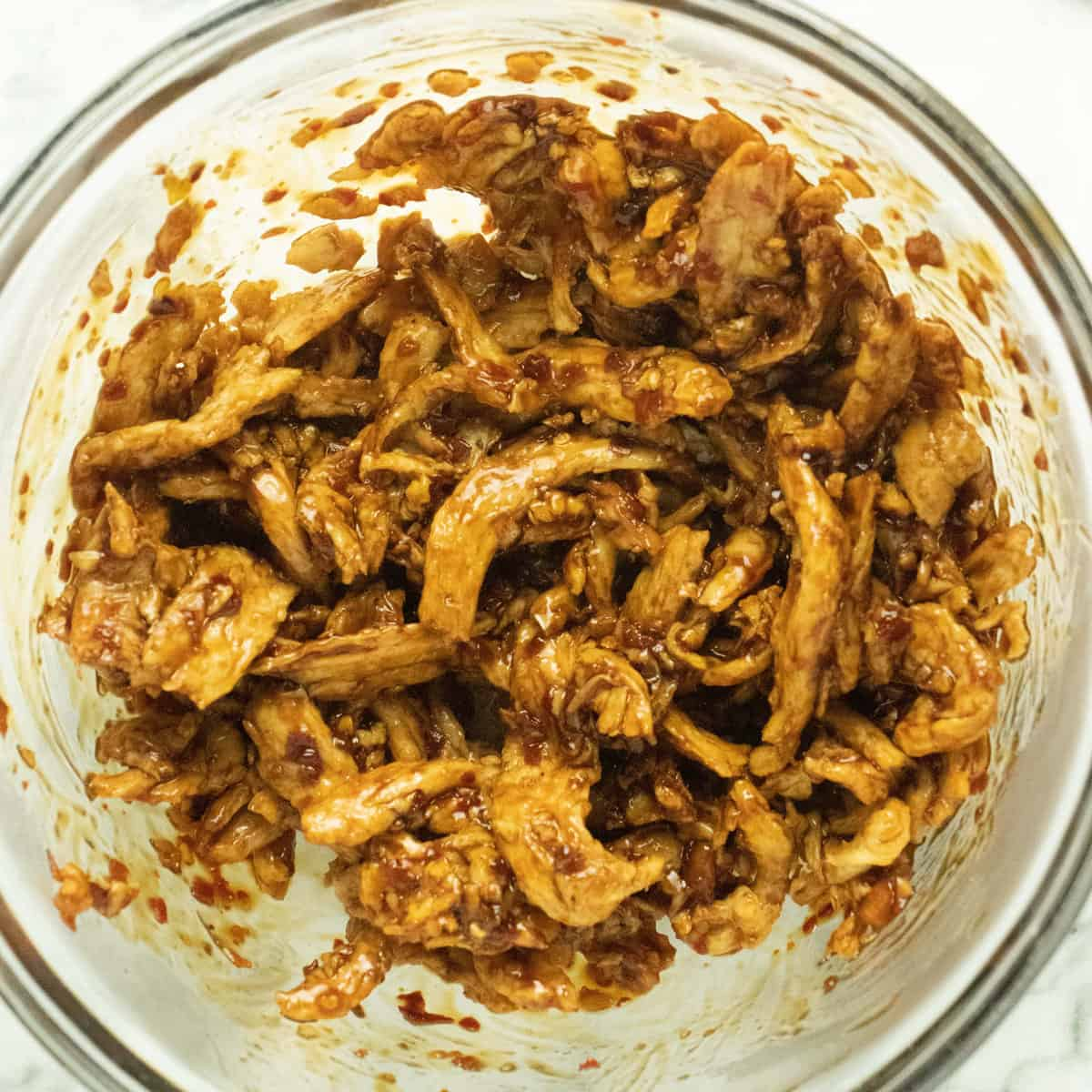 reconstituted soy curls tossed with vegan mongolian beef sauce