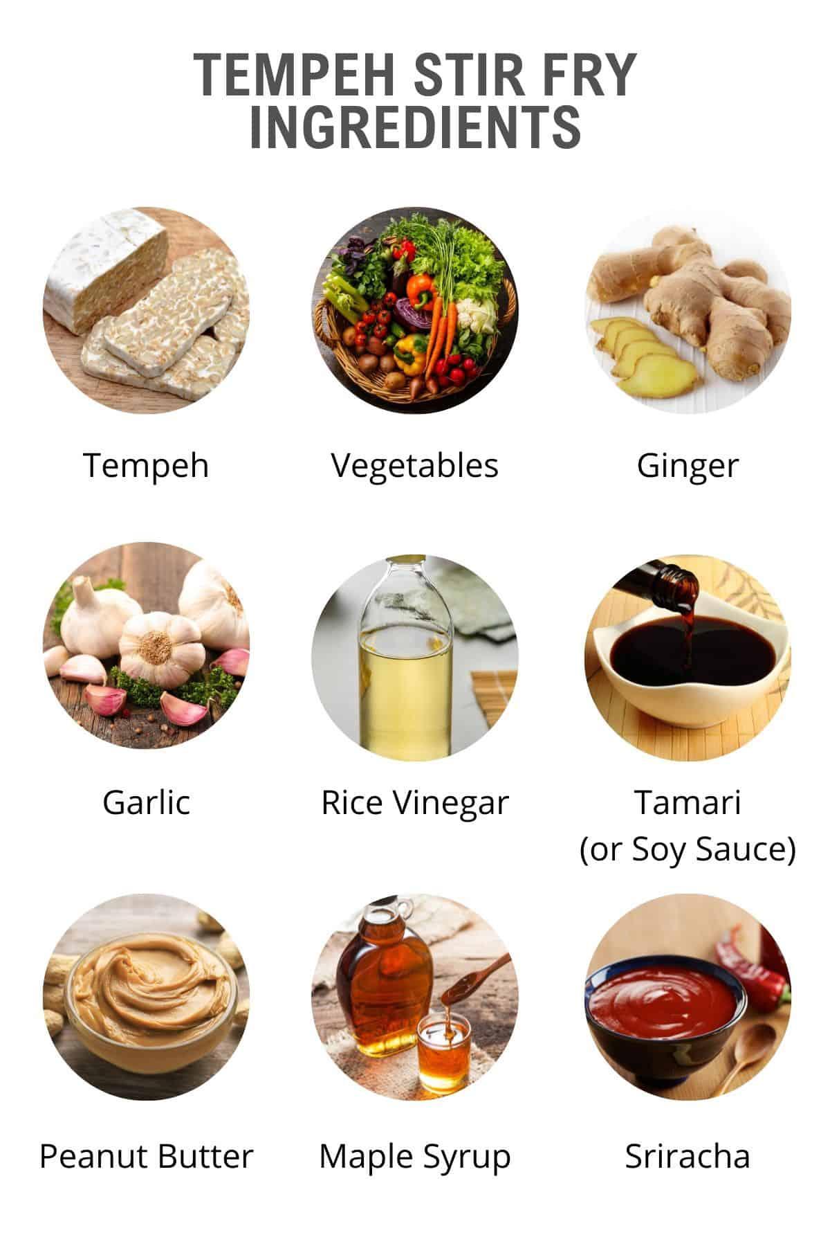 ingredients in the tempeh stir fry