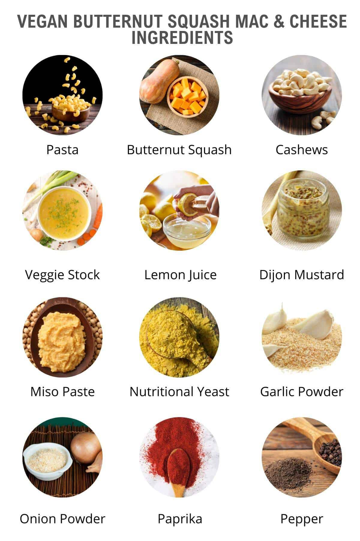 vegan butternut squash mac and cheese ingredients
