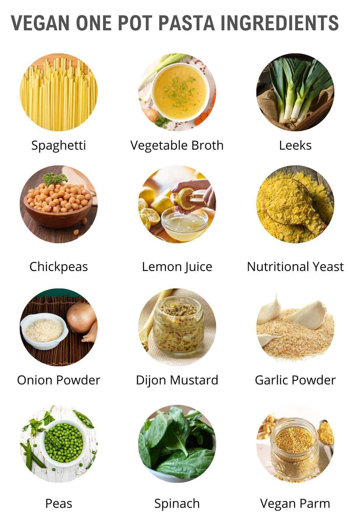 vegan one pot pasta ingredients
