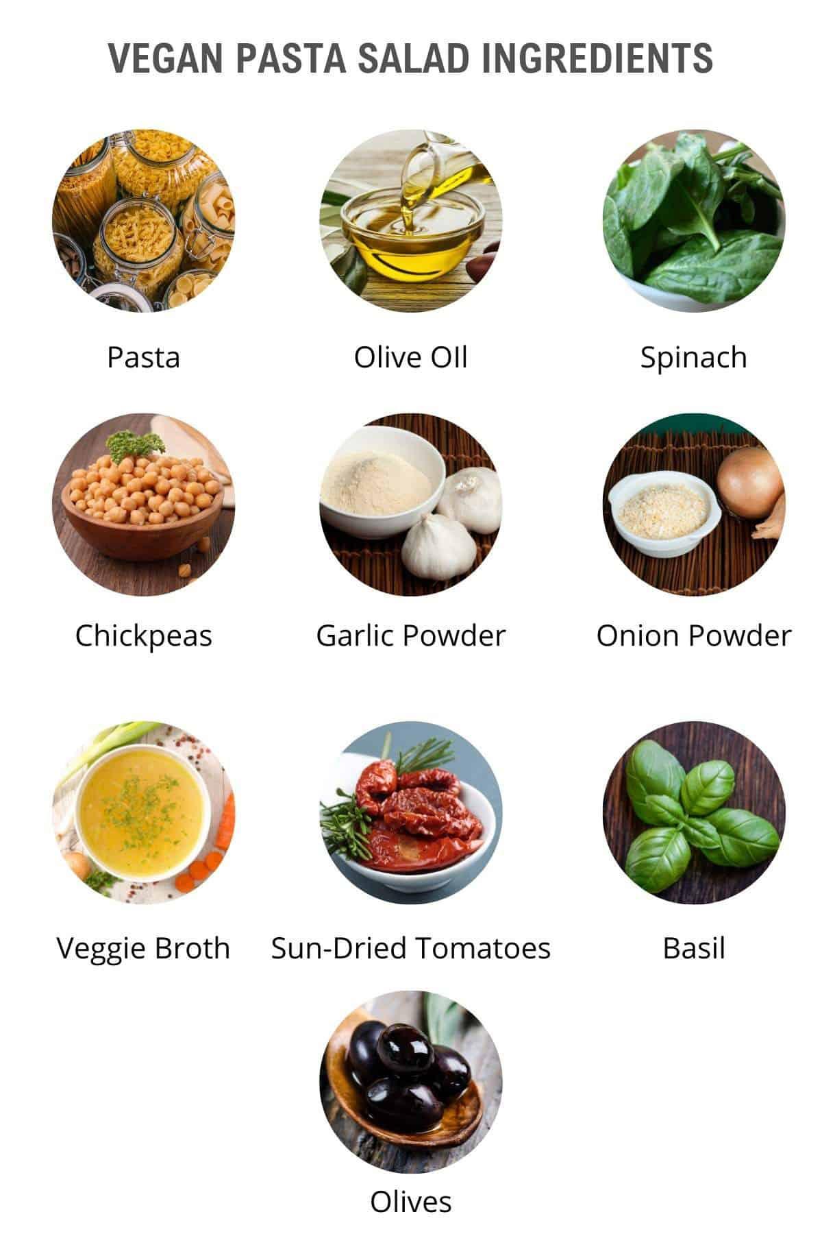 easy vegan pasta salad ingredients