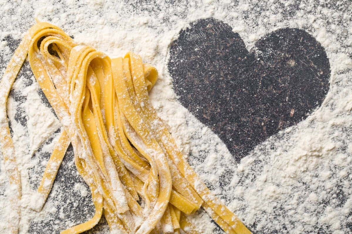 pasta with flour and heart