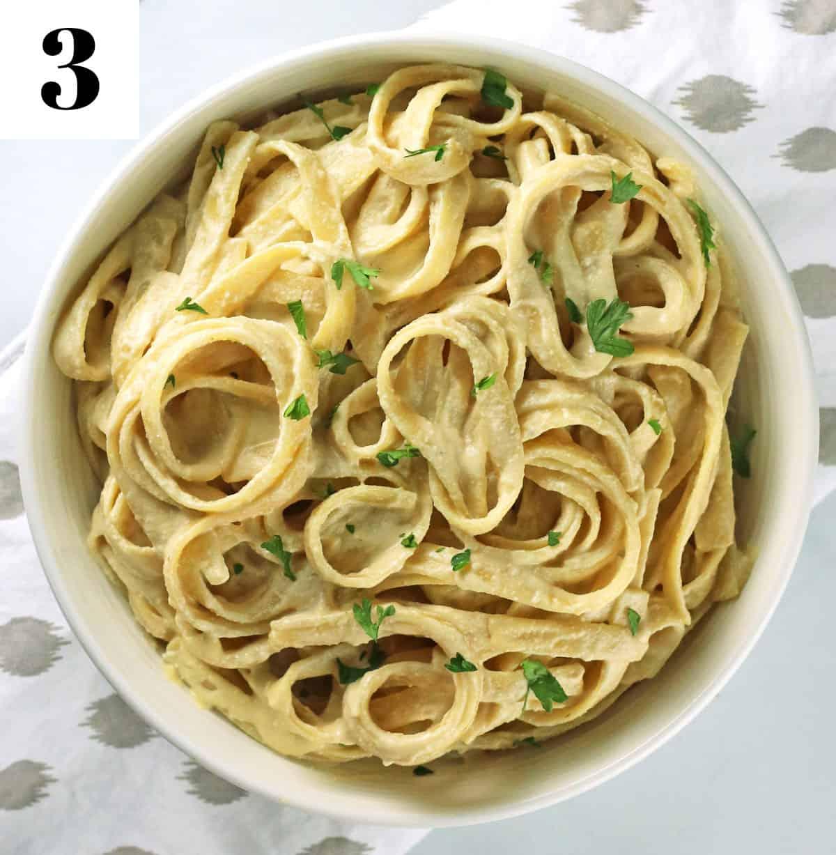 finished vegan alfredo sauce pasta