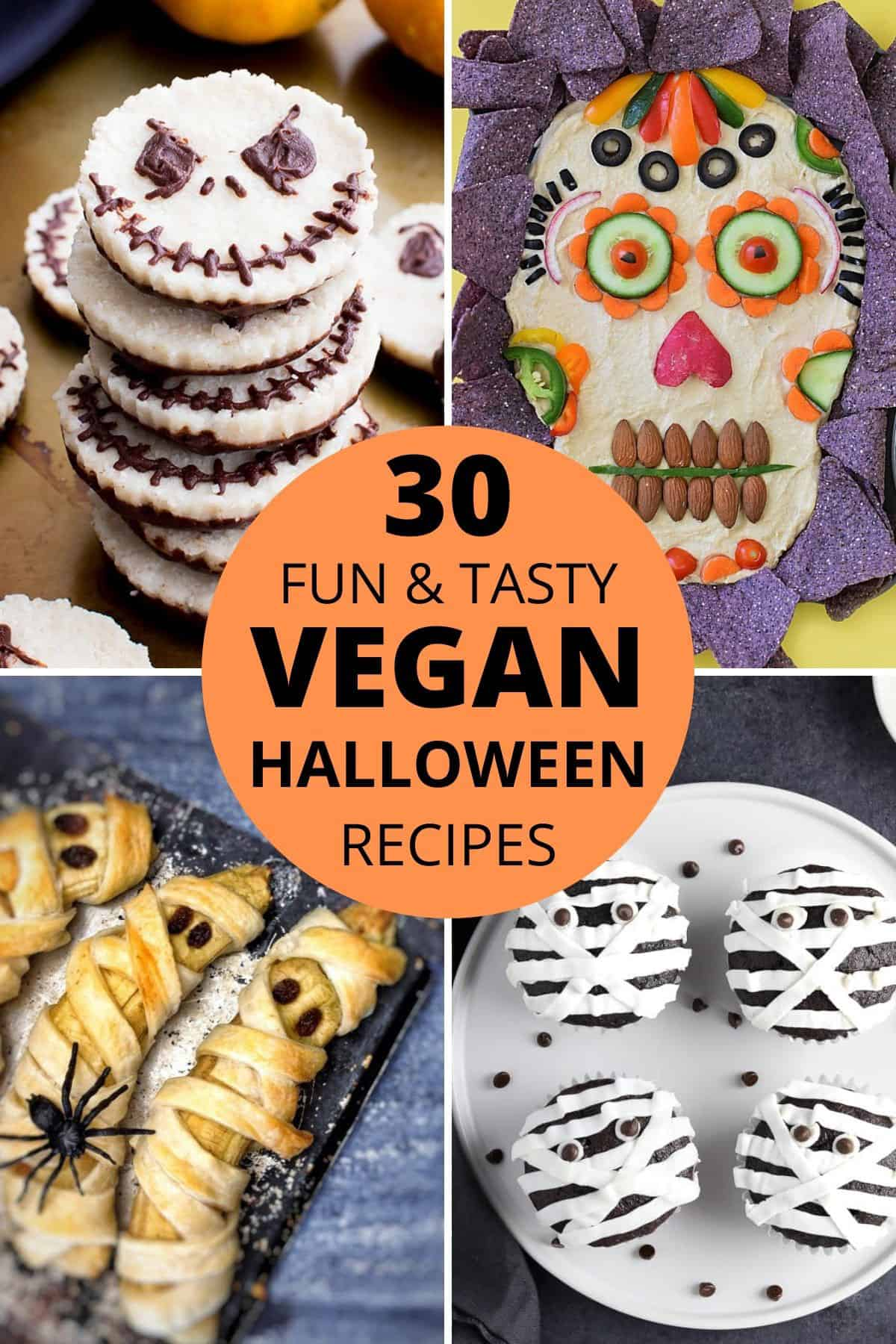 """four pictures of vegan halloween recipes with the text """"30 fun and tasty vegan halloween recipes"""" in orange circle"""